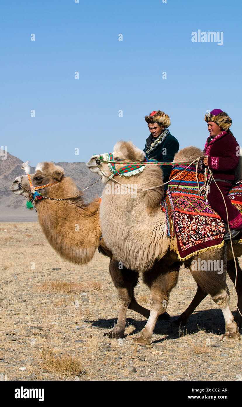 Riding their double hump camels in the vast Mongolian outdoors. - Stock Image