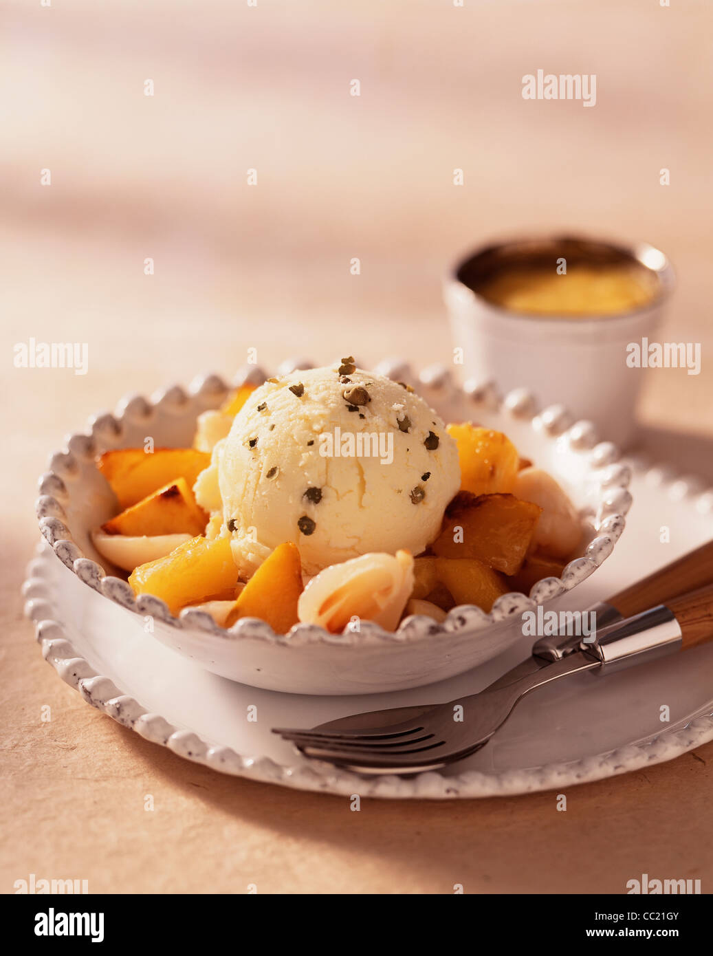 Pan-fried Exotic Fruits and Green Pepper Ice Cream Stock Photo