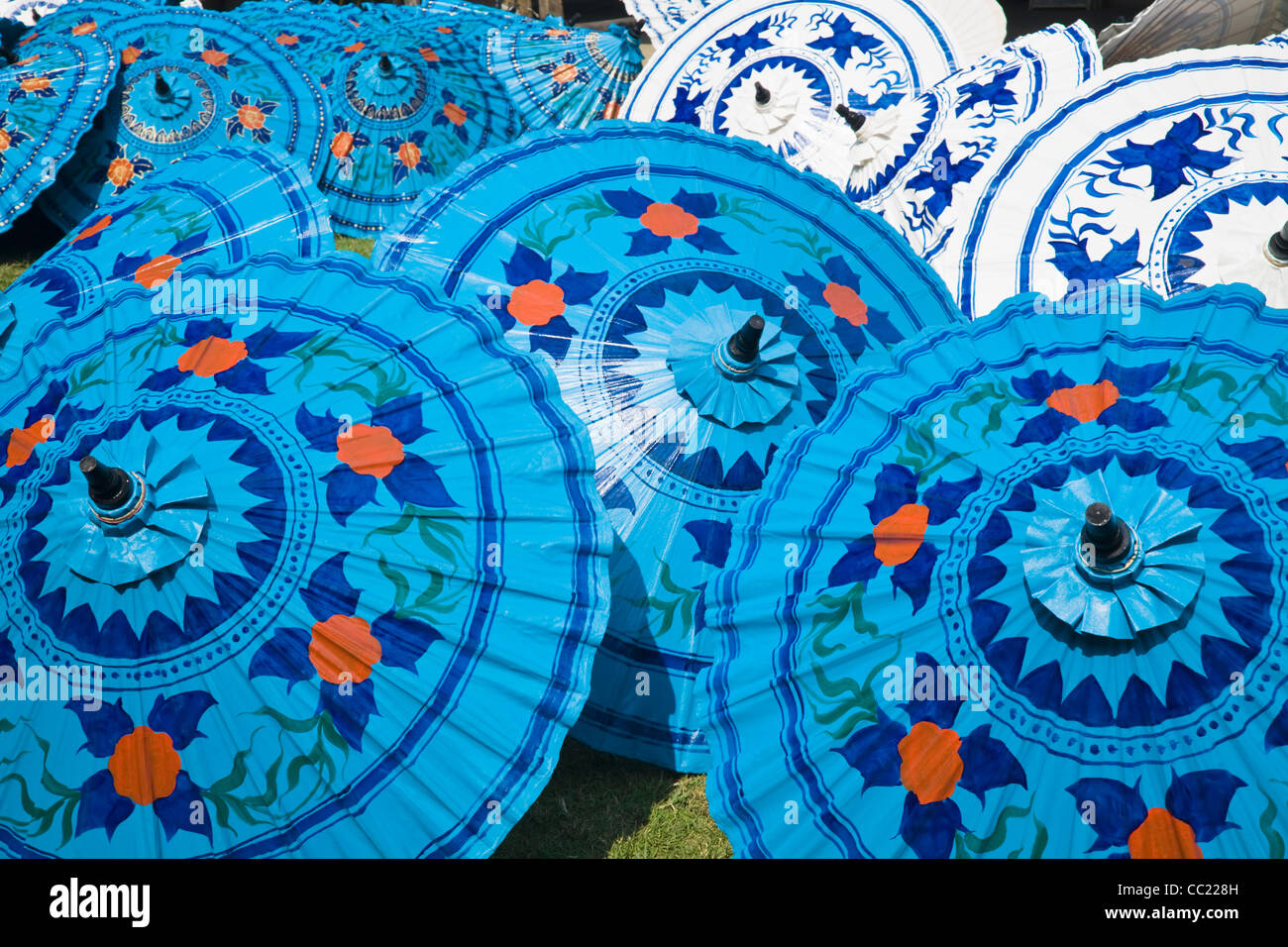 Traditional Thai parasols at Bo Sang, also known as the 'umbrella village'. Chiang Mai, Chiang Mai, Thailand - Stock Image