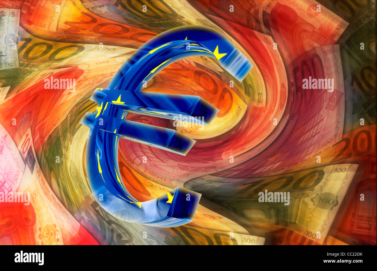 Euro sign in front of blurred euro banknotes, illustration - Stock Image