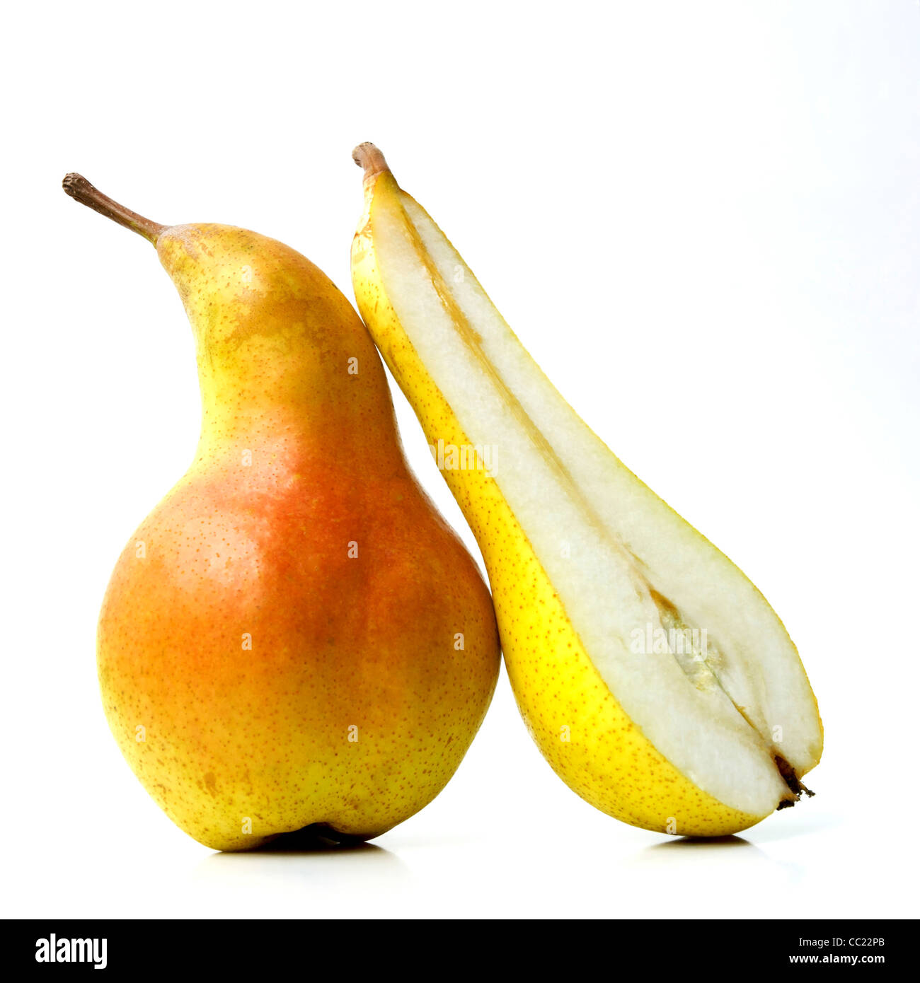 Pears - whole and cut - Stock Image