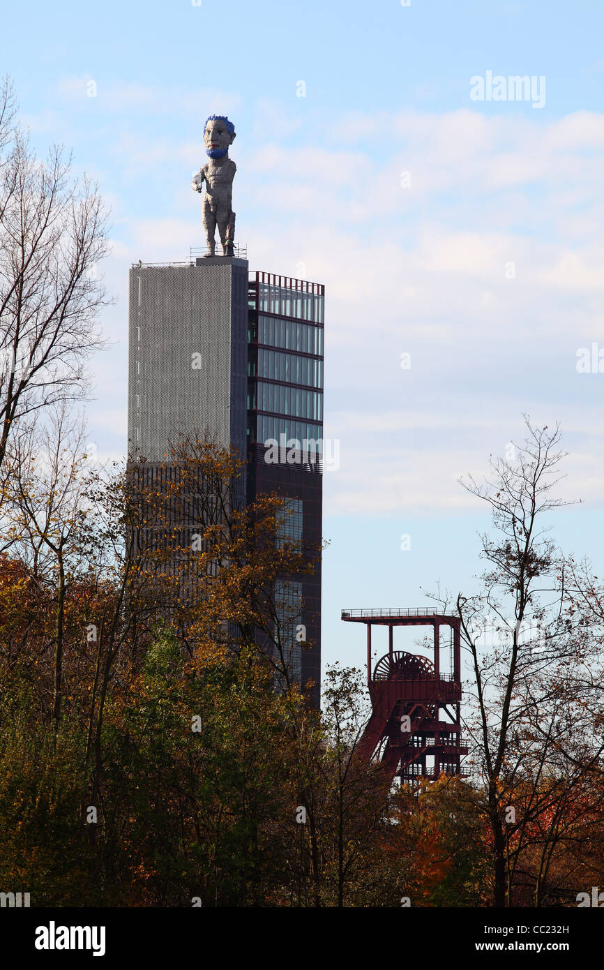 Zeche Nordstern, a former coal mine pit. Today a cultural, leisure  and business park complex. Art work Herkules - Stock Image