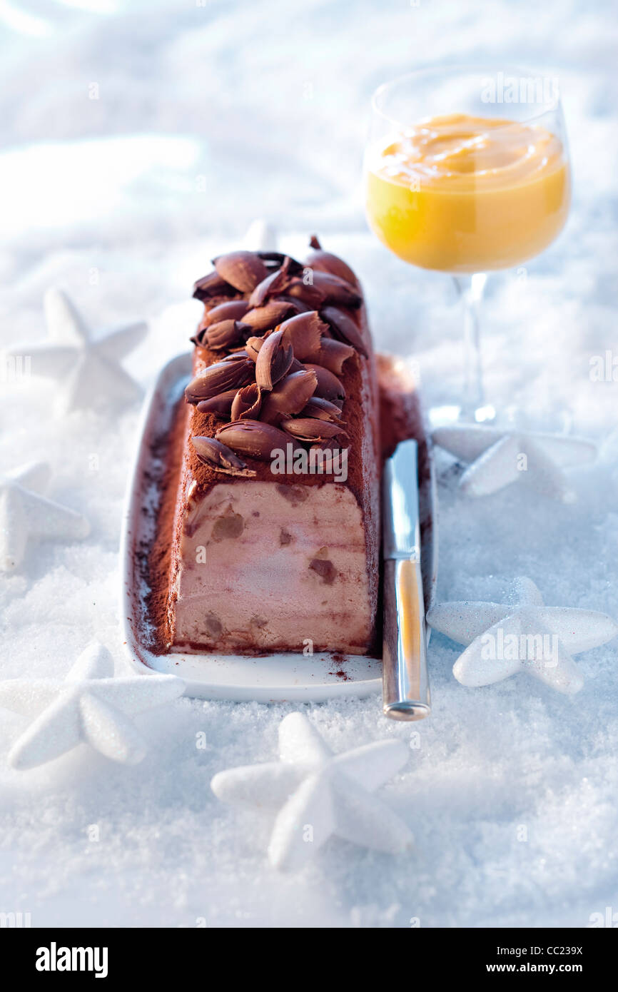 Iced Yule Log with Chestnut Stock Photo