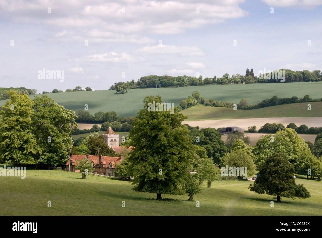 Chiltern Hills Hughenden Valley and parish church - Stock Image