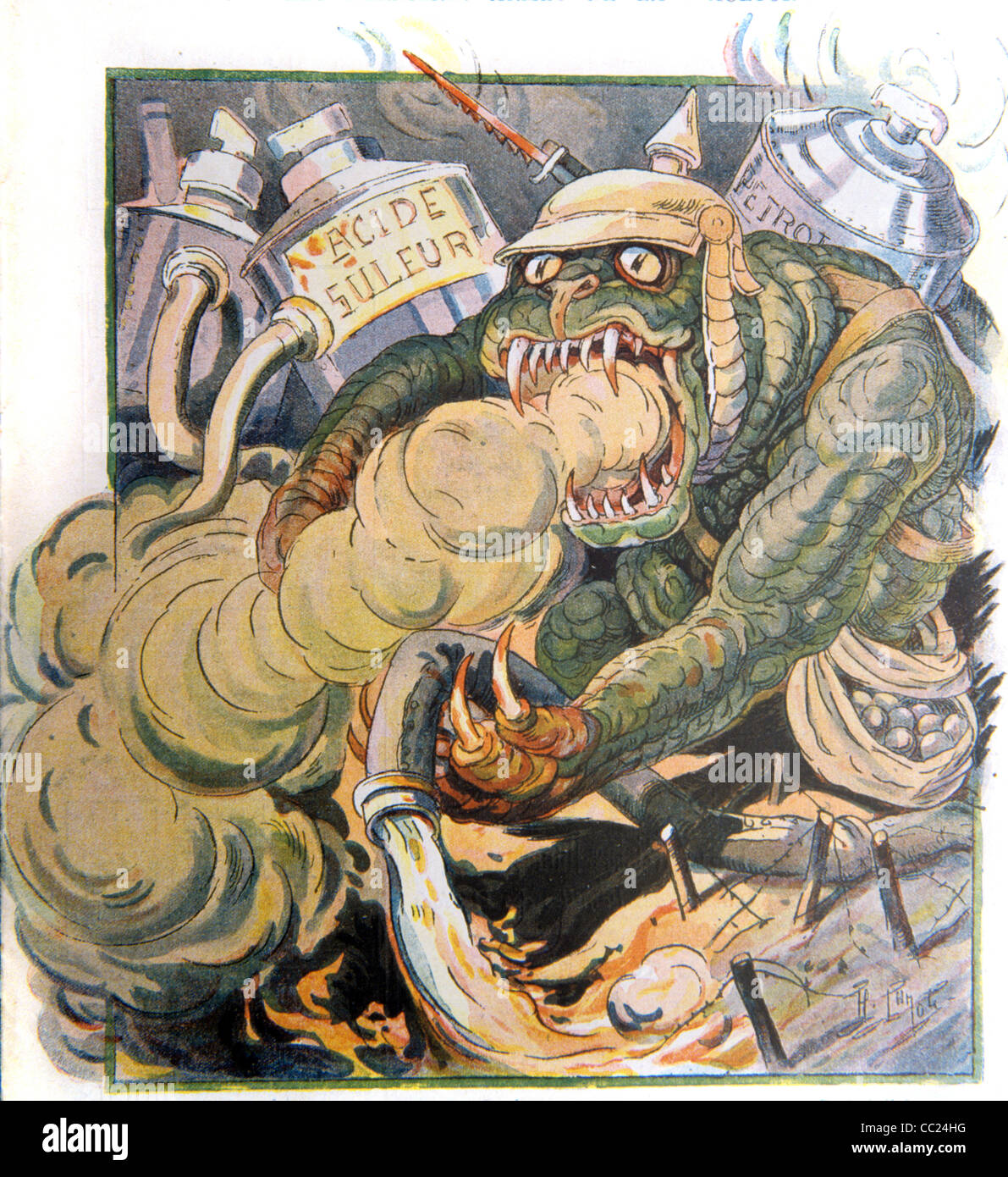 Biological Warfare or Weapons. Germany The Stinking Beast. First World War Propaganda. French Satirical Magazine, - Stock Image
