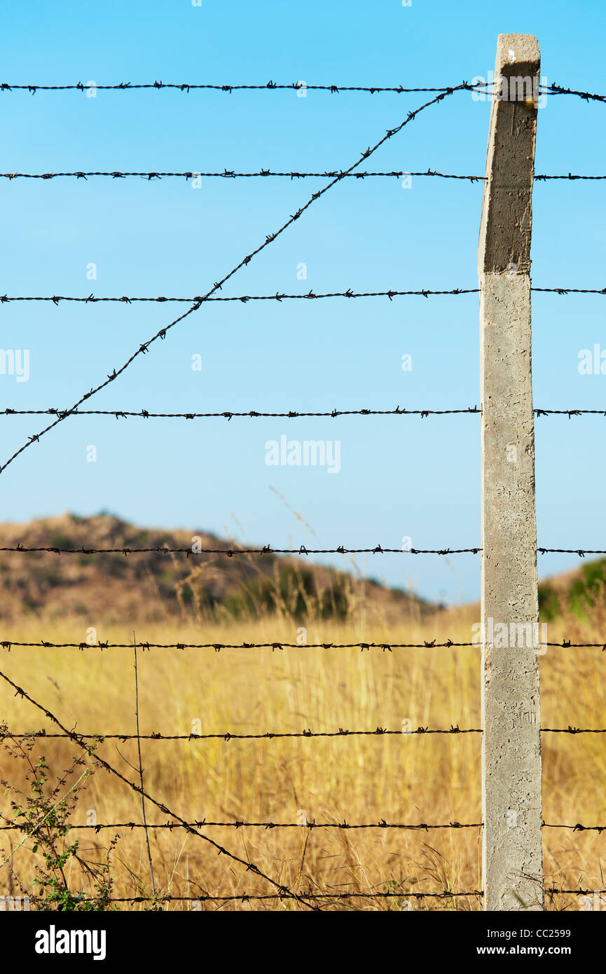 Barbed wire fence against a blue sky in the indian countryside. Andhra Pradesh, India - Stock Image