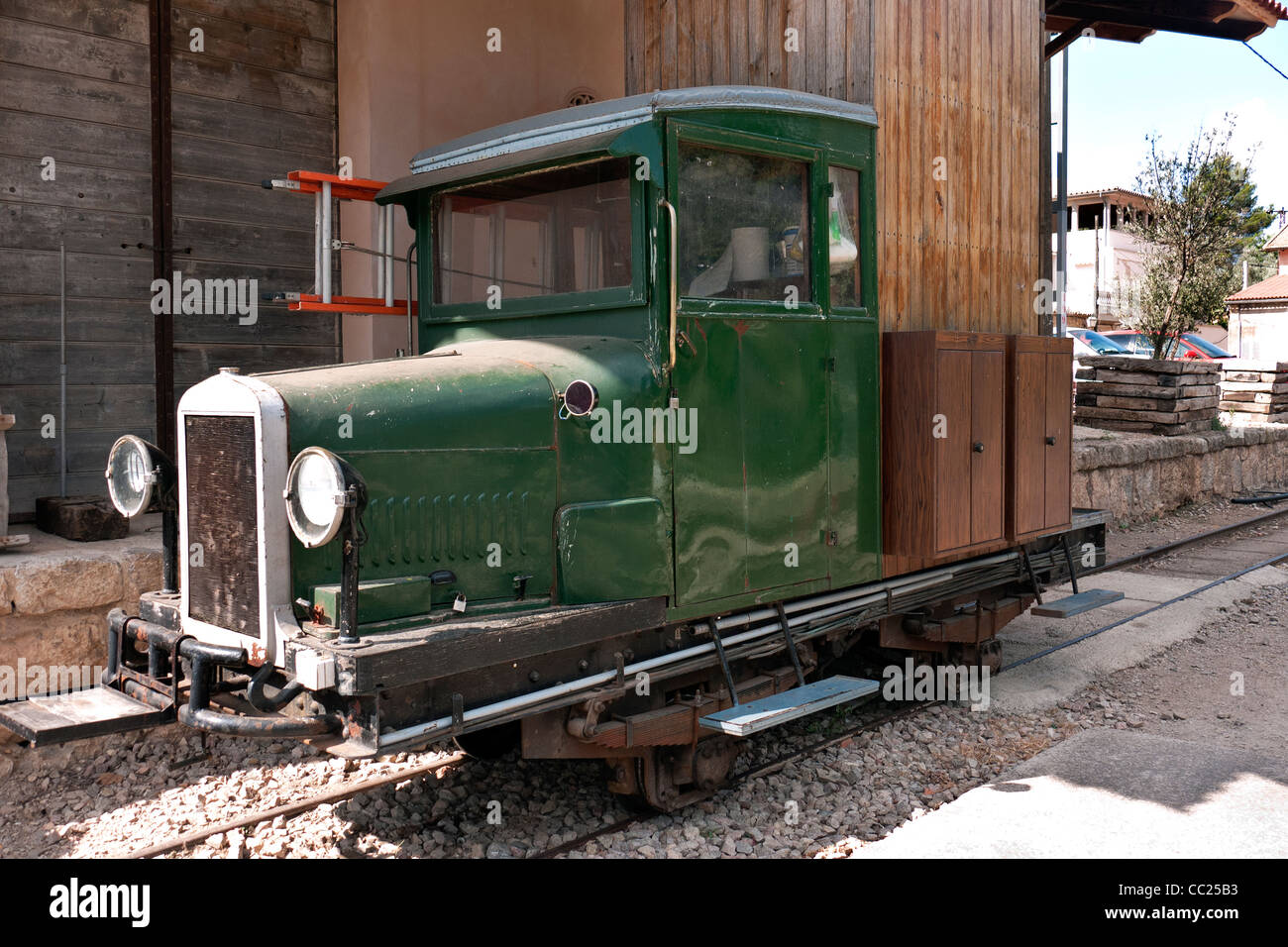 Maintenance lorry converted to run on the historic electric railway which runs from  Palma to Soller railway - Stock Image