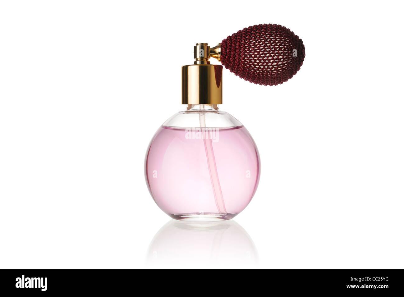 Perfume Bottle Against a White Background Stock Photo