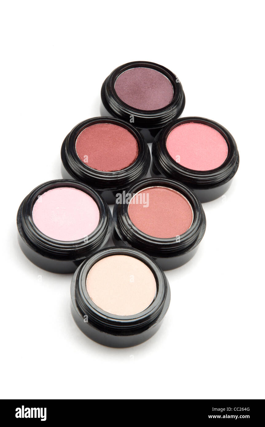 Containers of different shades of eyeshadow - Stock Image