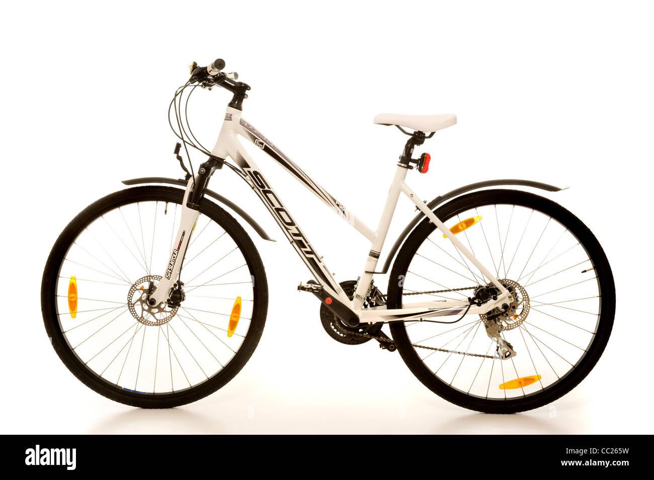 White studio photo of ladies mountain/road hybrid bike - Stock Image