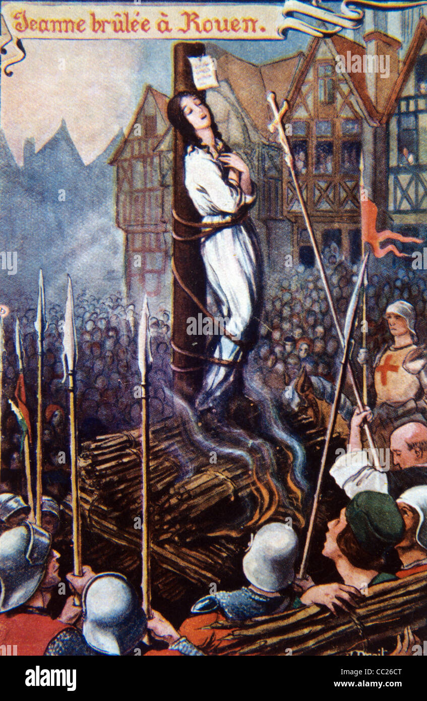 Saint Joan of Arc (1412-31) Being Burnt at the Stake at Rouen (1431),  France. Patron Saint of France.