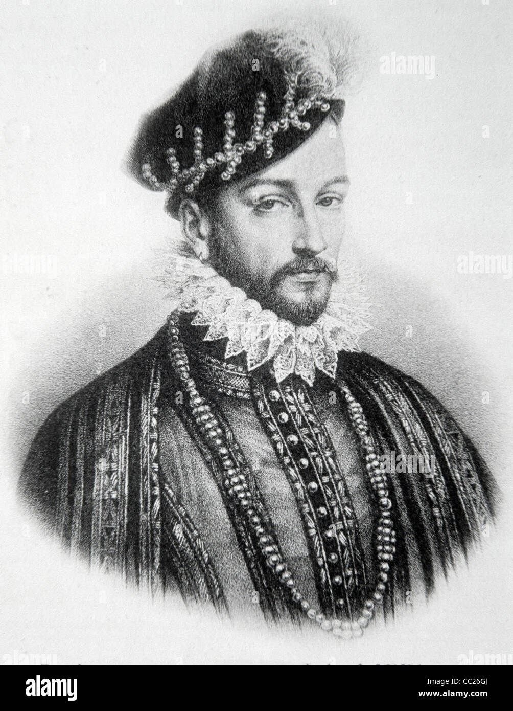 Charles IX, King of France (1560-74). Portrait Stock Photo
