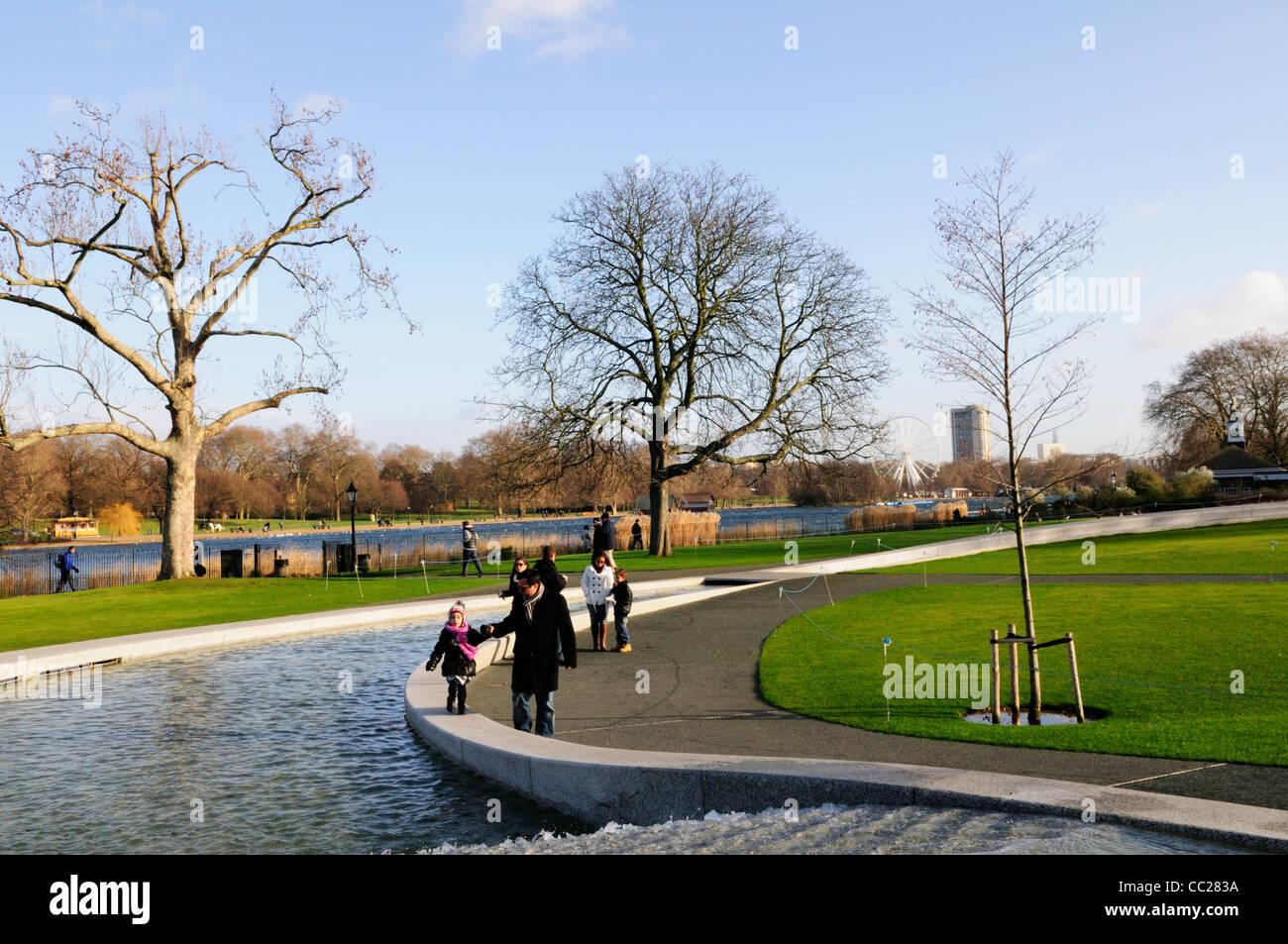 Princess Diana of Wales Memorial Fountain, Hyde Park, London, England, UK - Stock Image