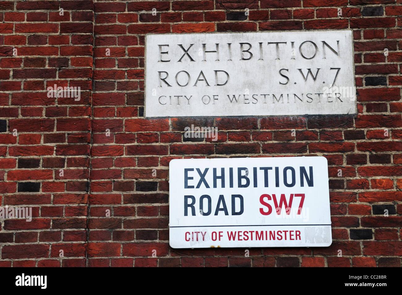 Exhibition Road SW7 Street Signs, Kensington, London, England, UK - Stock Image