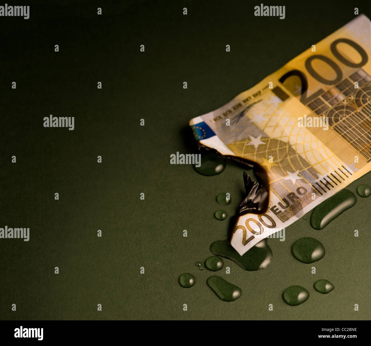 A burnt 200 euro note, dowsed with water - Stock Image