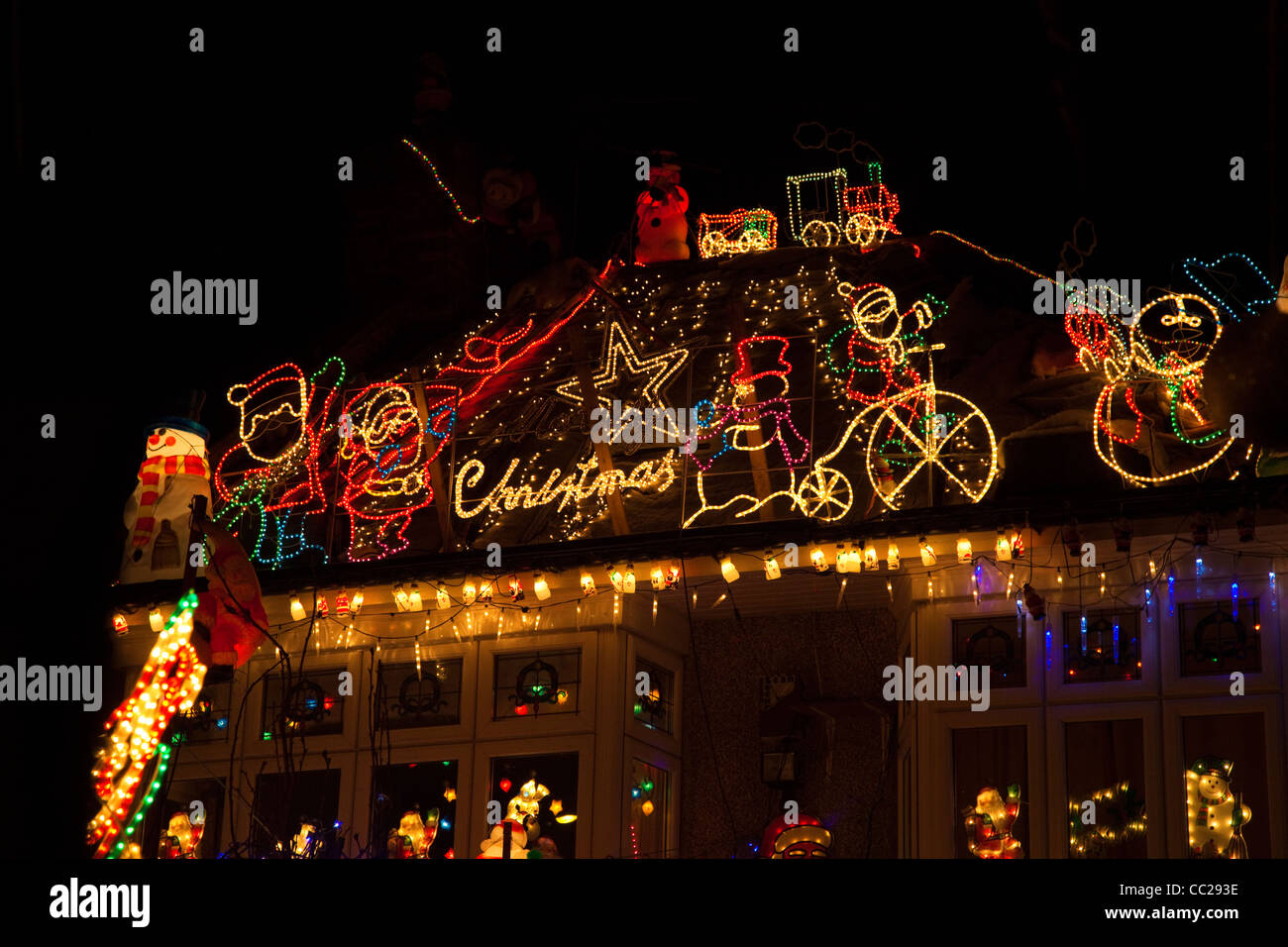 roof of a house covered in illuminated christmas decorations kent uk