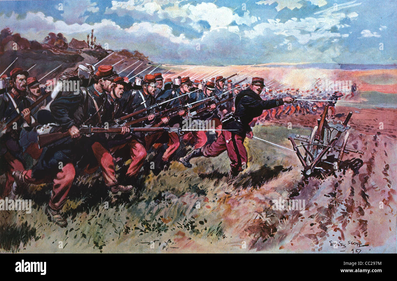 Charging French Foot Soldiers or Attacking Infantry during the 1870 Franco-Prussian War - Stock Image