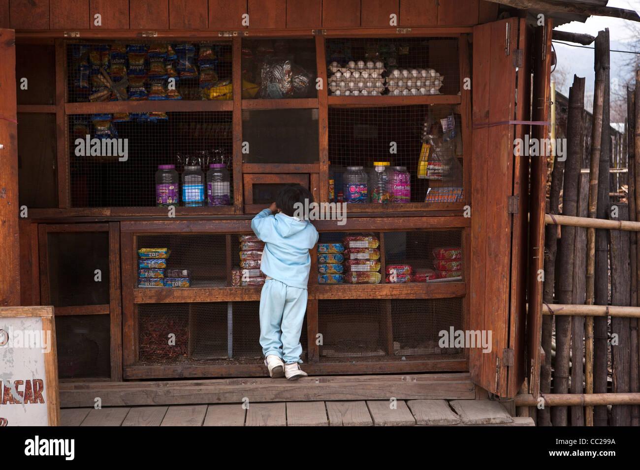 India, Arunachal Pradesh, Ziro town, child at poorly stocked local shop - Stock Image