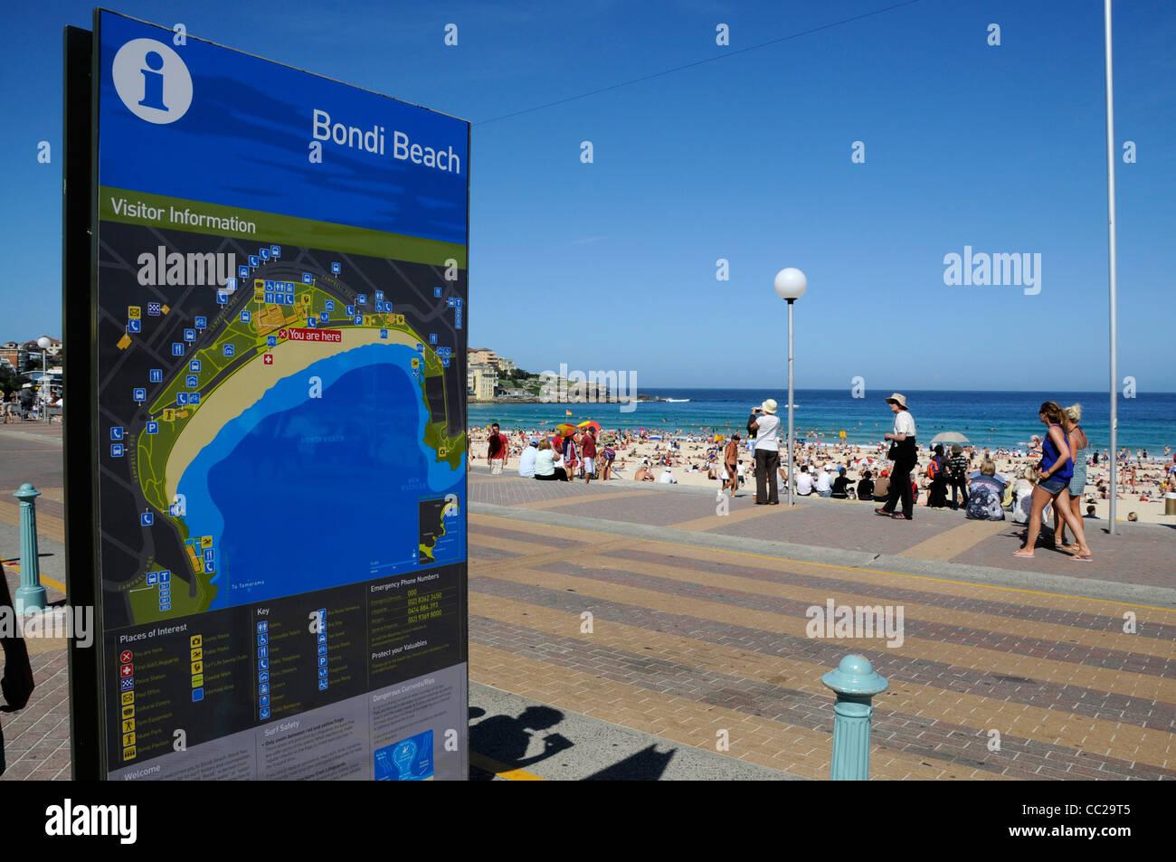A Bondi Beach map sign at Bondi Beach near Sydney,New South Wales, Australia - Stock Image