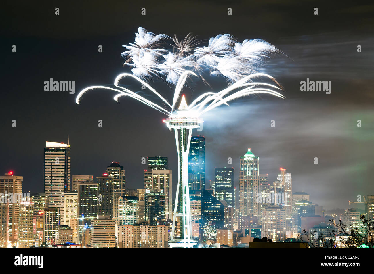 Fireworks' show on New Year's Eve at Space Needle, Seattle, Washington, USA - Stock Image