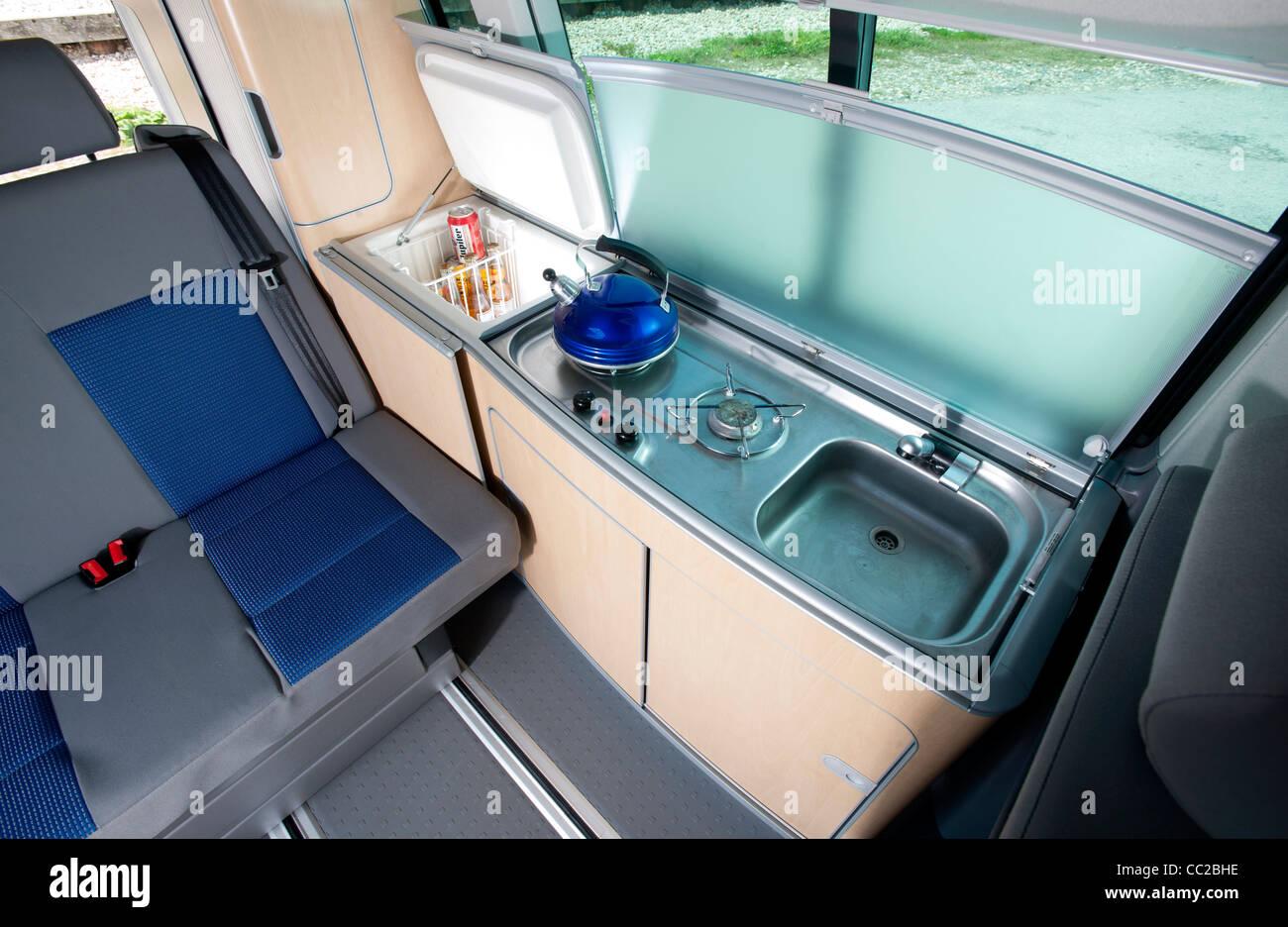 Volkswagen Vw T5 California Camper Van Interior Stock Photo Alamy