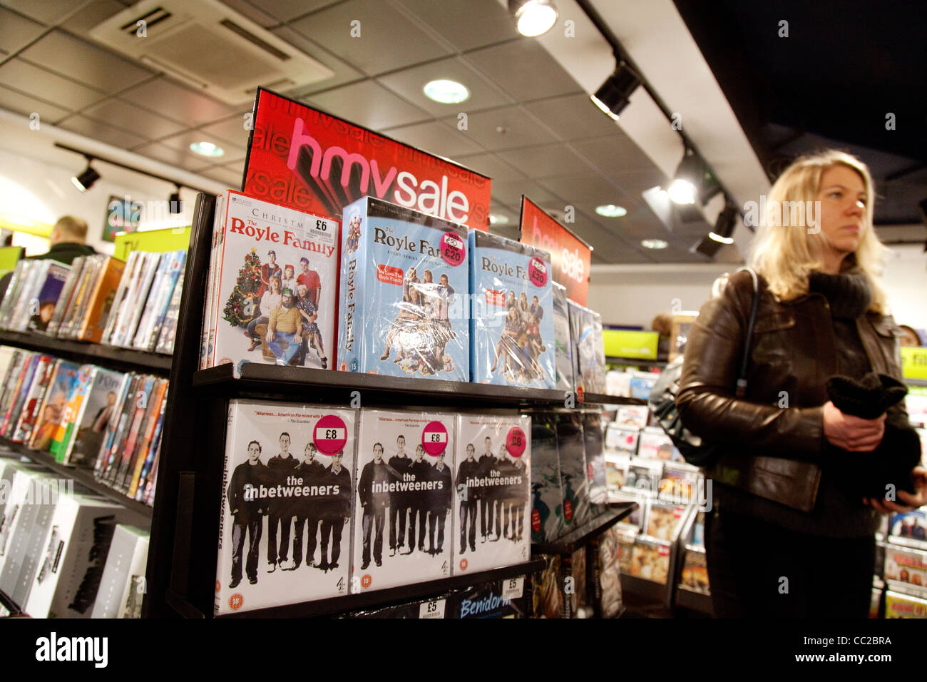 Interior HMV store during the sales, Cambridge UK - Stock Image