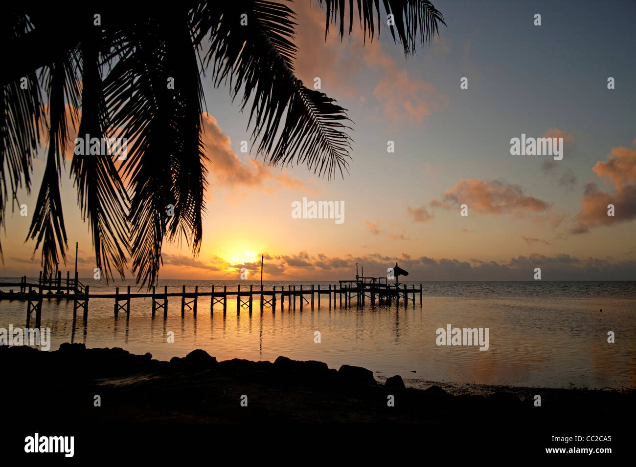 sunset at a pier in Marathon, Florida Keys, Florida, USA Stock Photo