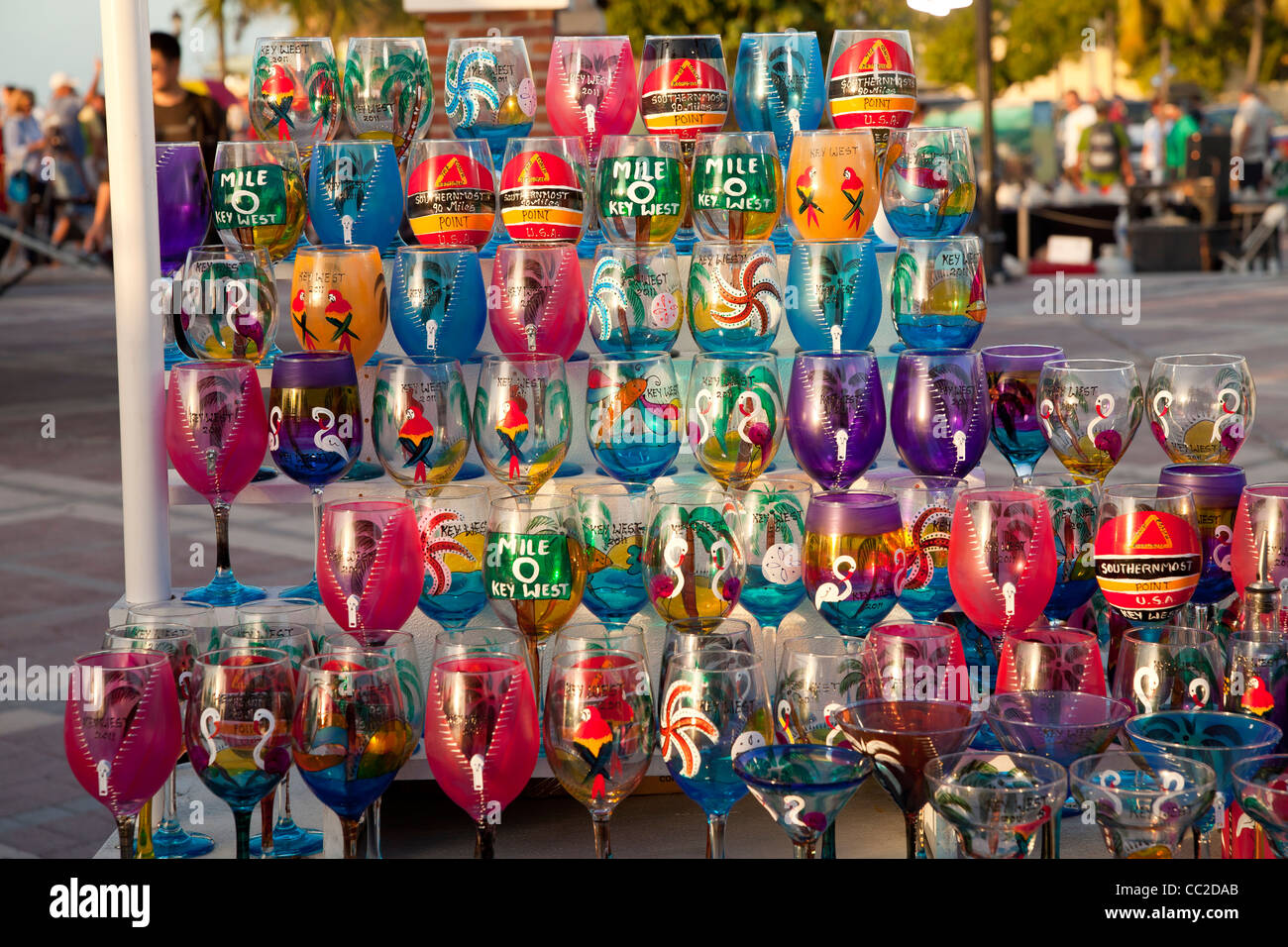colourful painted glasses at the market on Mallory Square in Key West, Florida Keys, Florida, USA - Stock Image