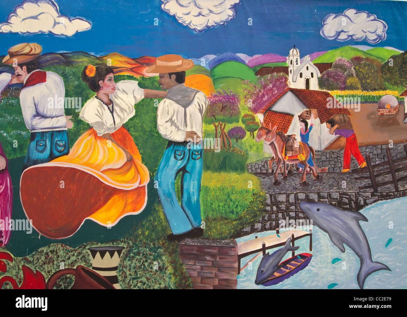 Mural of people dancing in Honduras - Stock Image