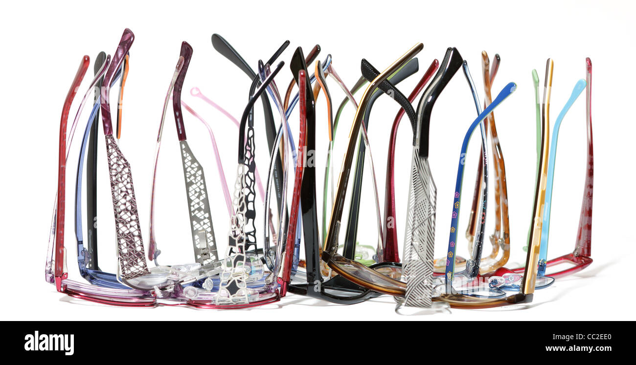 a lot of glasses on white background - Stock Image