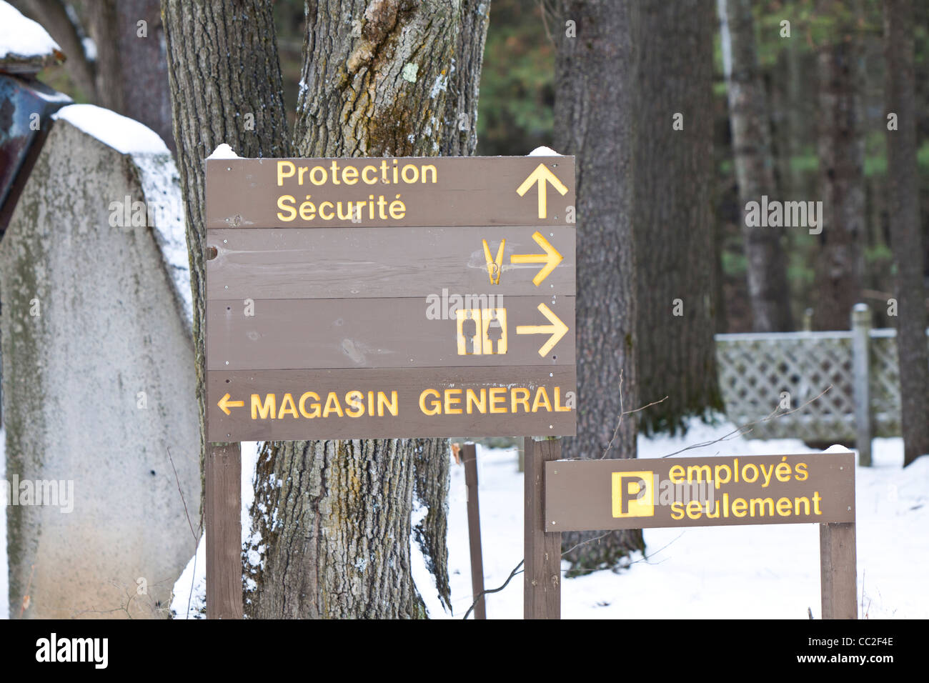 Guidance sign board in Oka, Quebec, Canada. - Stock Image
