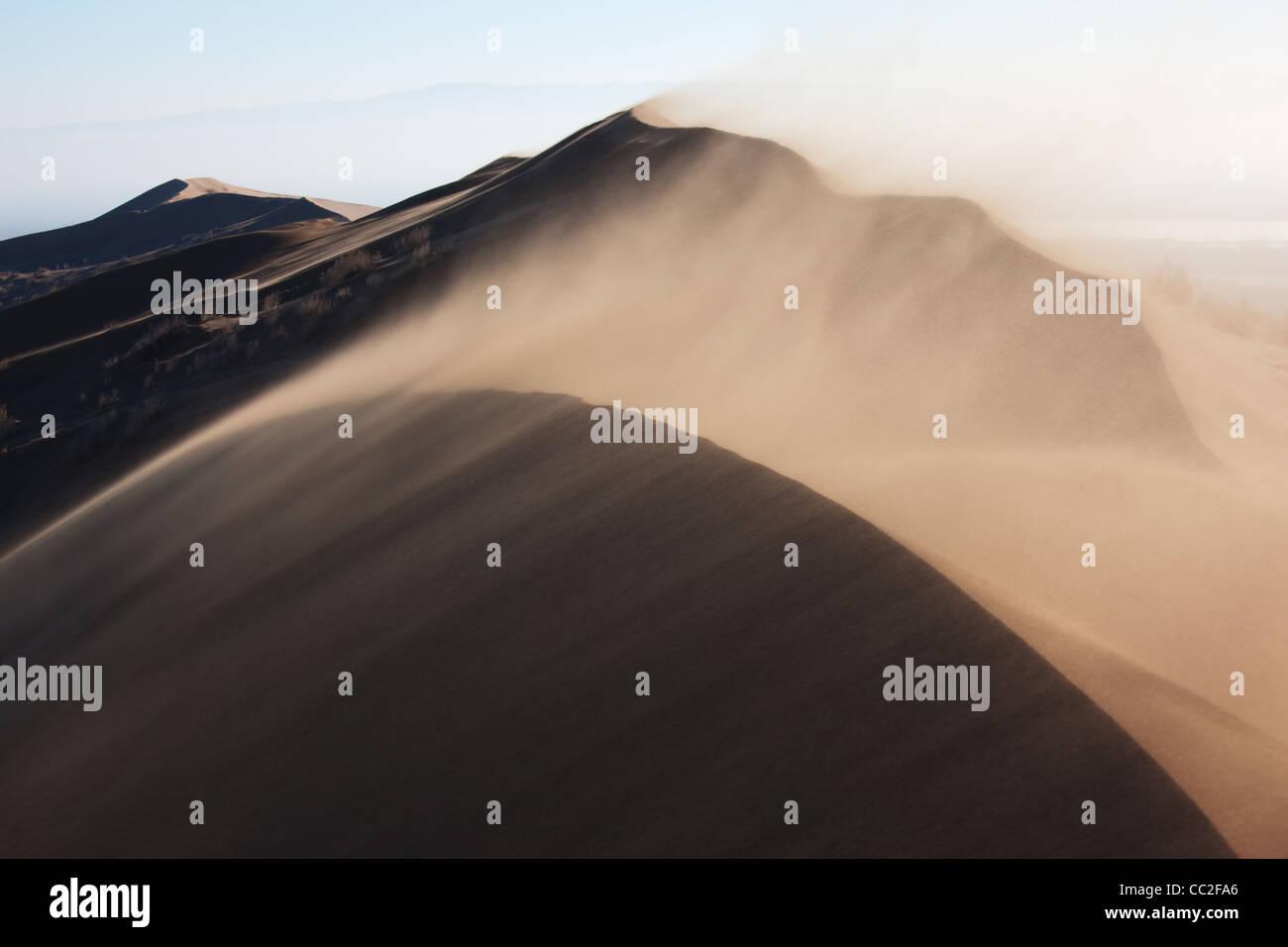 Sand storm in desert national park Altyn-Emel, Kazakhstan - Stock Image