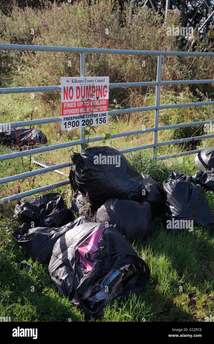 Fly tipping of domestic waste in Ireland - Eire - Stock Image