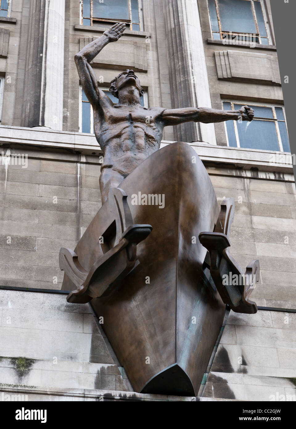 The sculpture by Sir Jacob Epstein called Liverpool Resurgent. - Stock Image