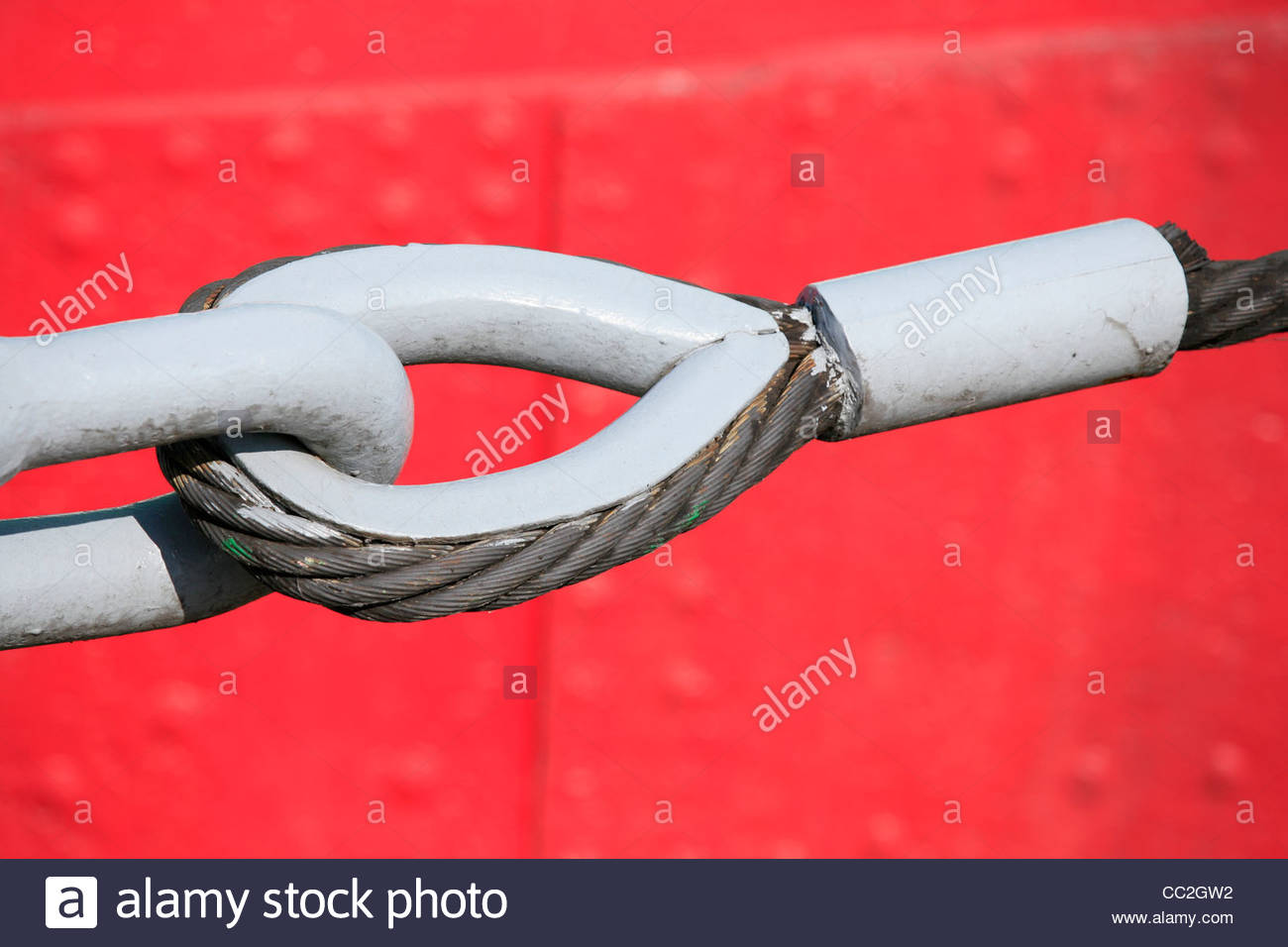 steel rope with thimble and fastener - Stock Image