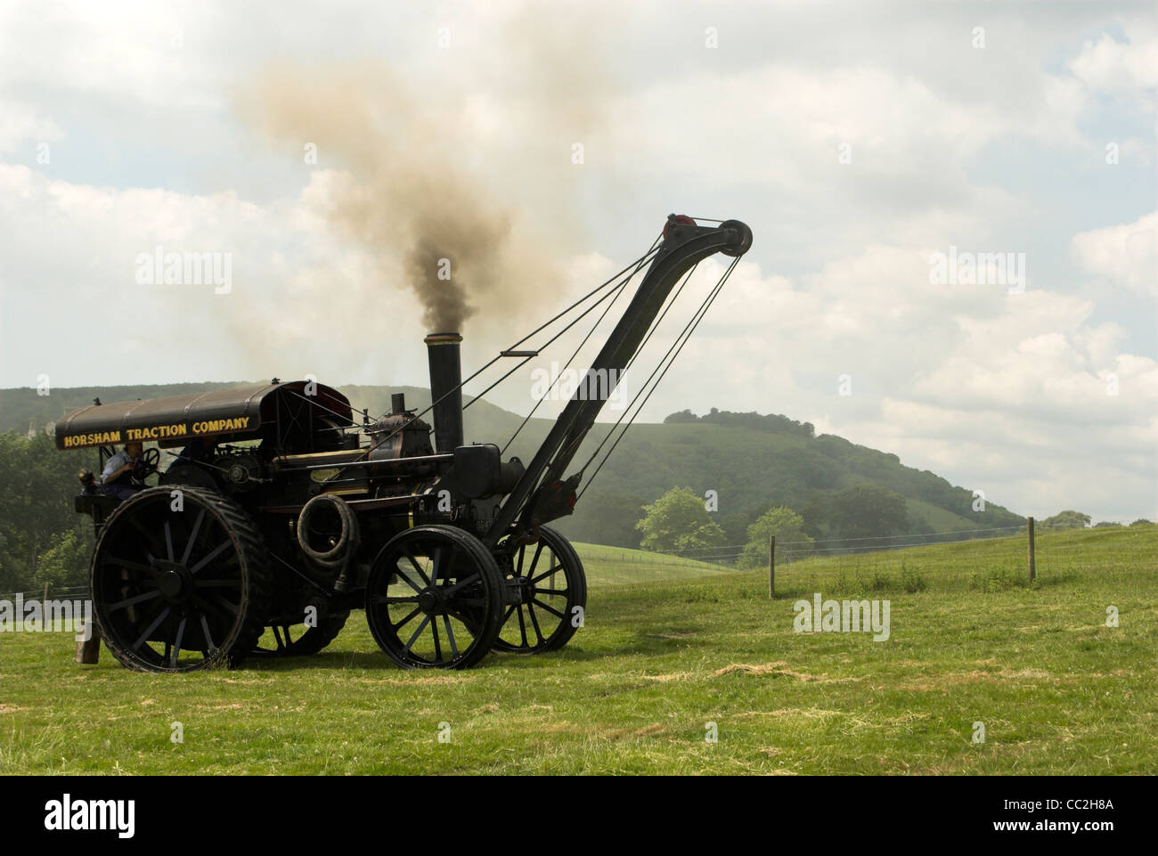A Fowler 8nhp B5 Road Locomotive Crane Engine, built 1901 and pictured here on the South Downs at Wiston Steam Rally. - Stock Image