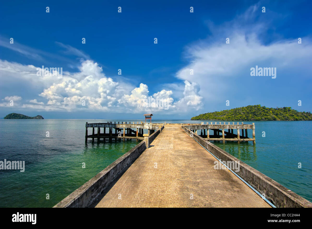 View of concrete pier at Talo Wow on the Koh Tarutao (Island) & the setting for the 'Tribal Council' for 'Survivor - Stock Image