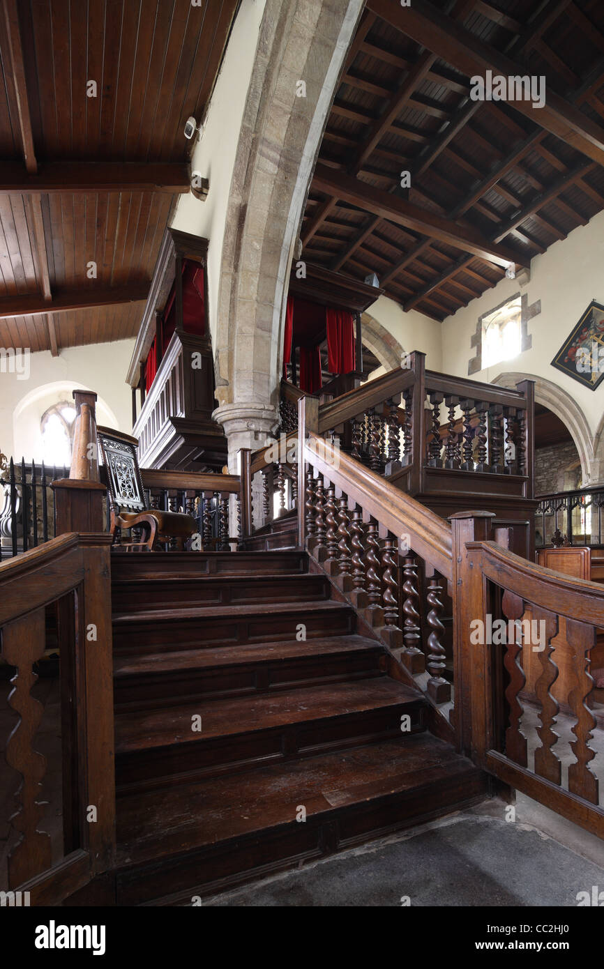 Milbanke family pew at the church of St Peter, Croft, Yorkshire North Riding - Stock Image