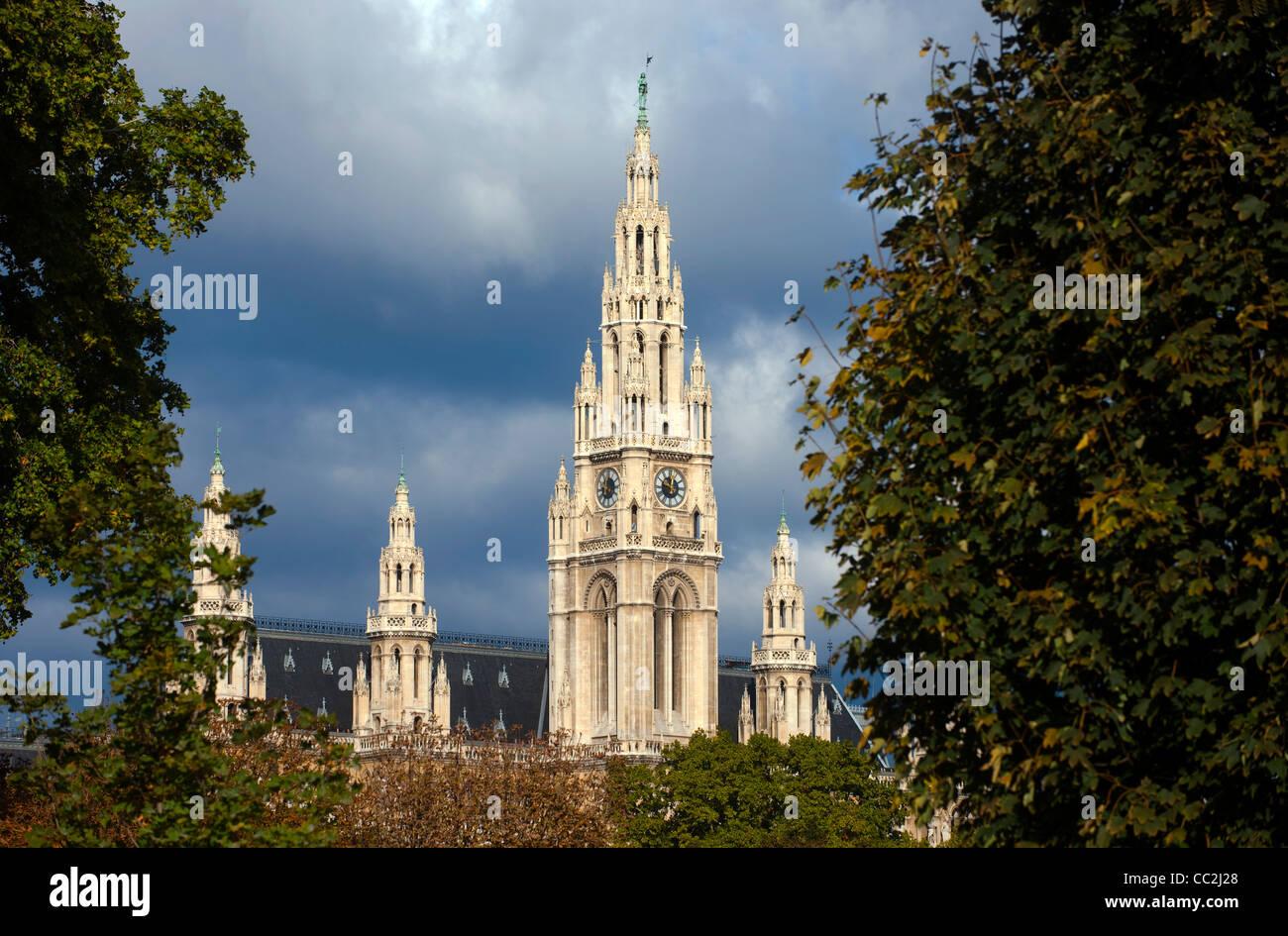Österreich, Wien, das neugotische Rathaus - Stock Image