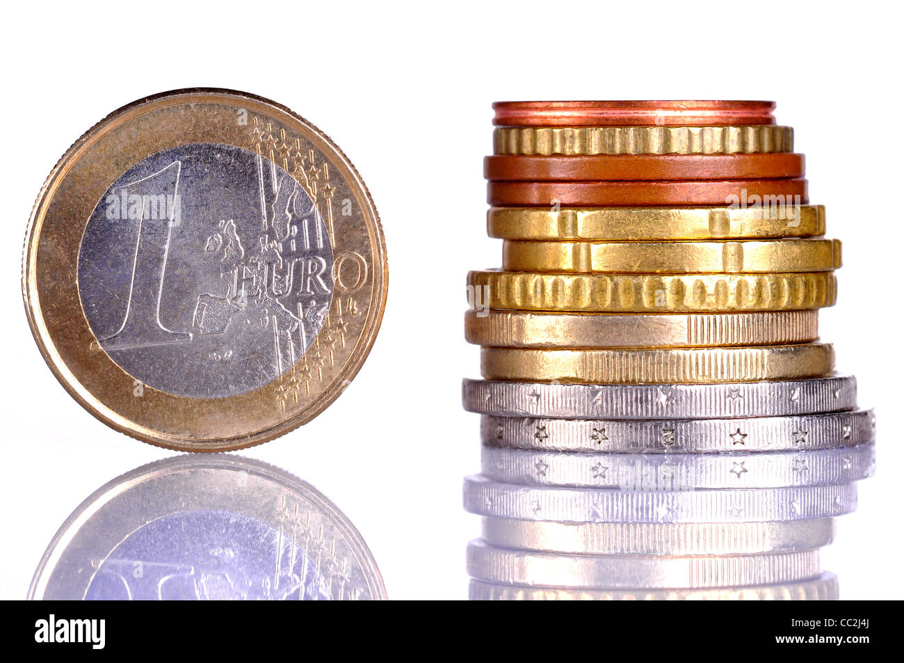 Close up of the one Euro coin, next to a pile of coins - Stock Image