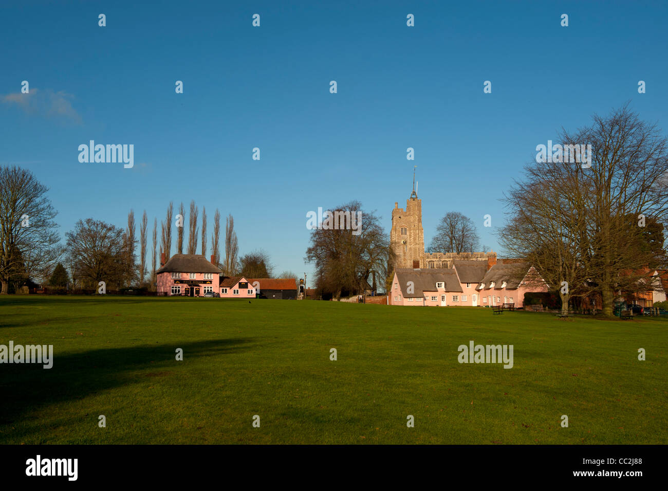 Cavendish,Suffolk,England. The village Green and St Mary's Church, one of the most beautiful villages in England. - Stock Image