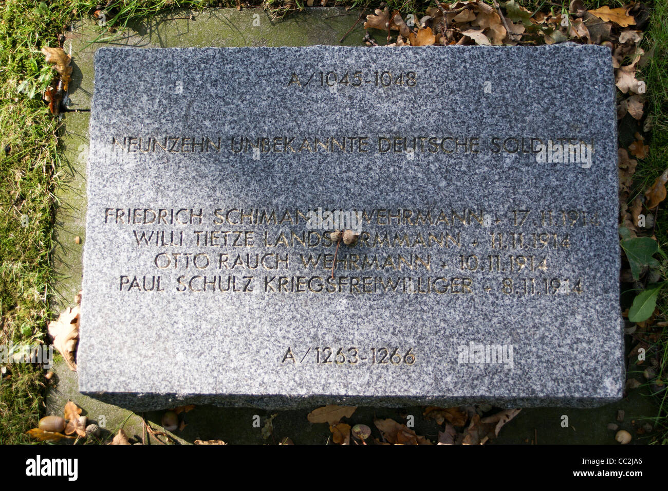 Names of the fallen at Langemark German first world war