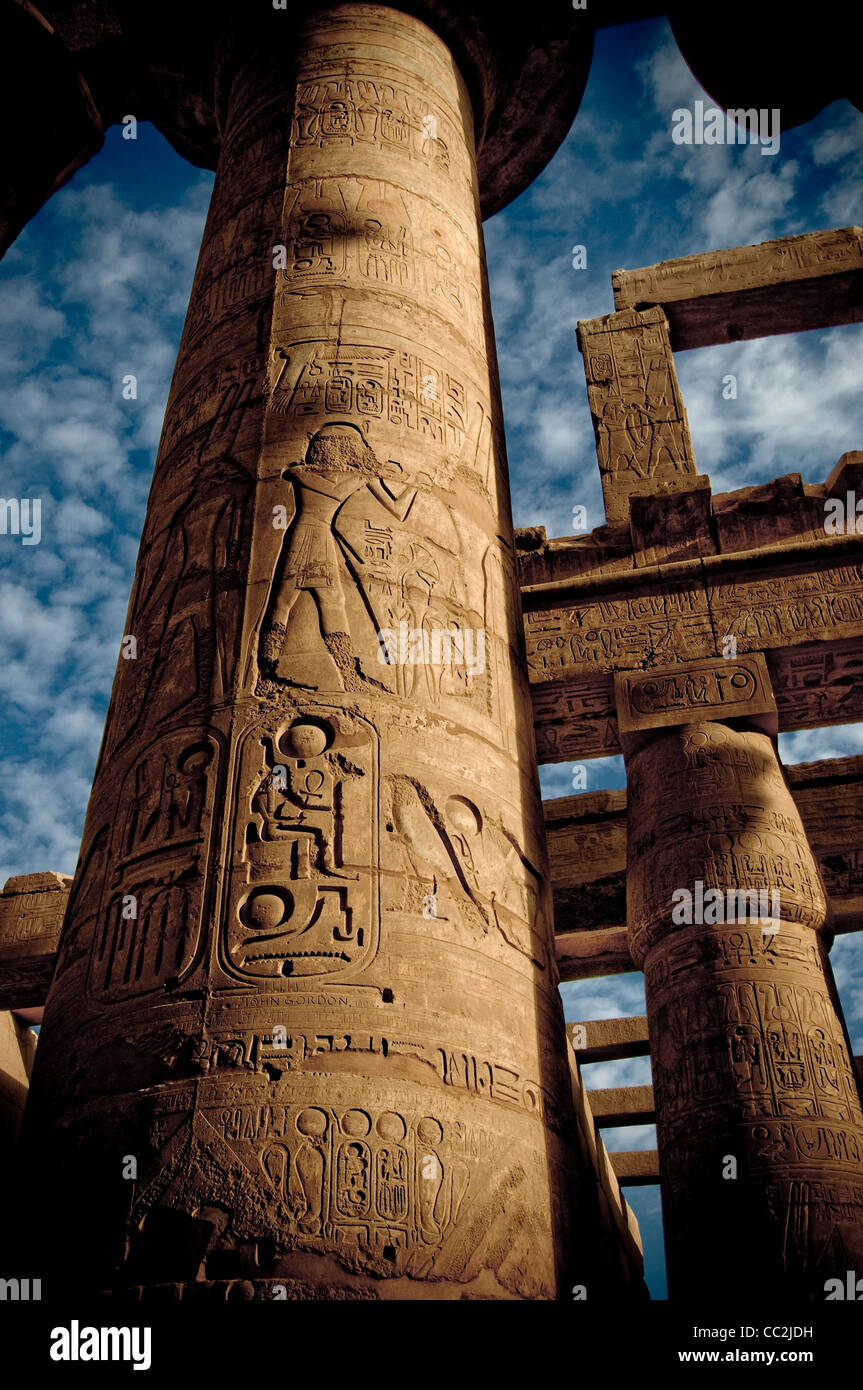 Great Hypostyle Hall at Karnak Temple, Egypt circa 1200 BC - Stock Image