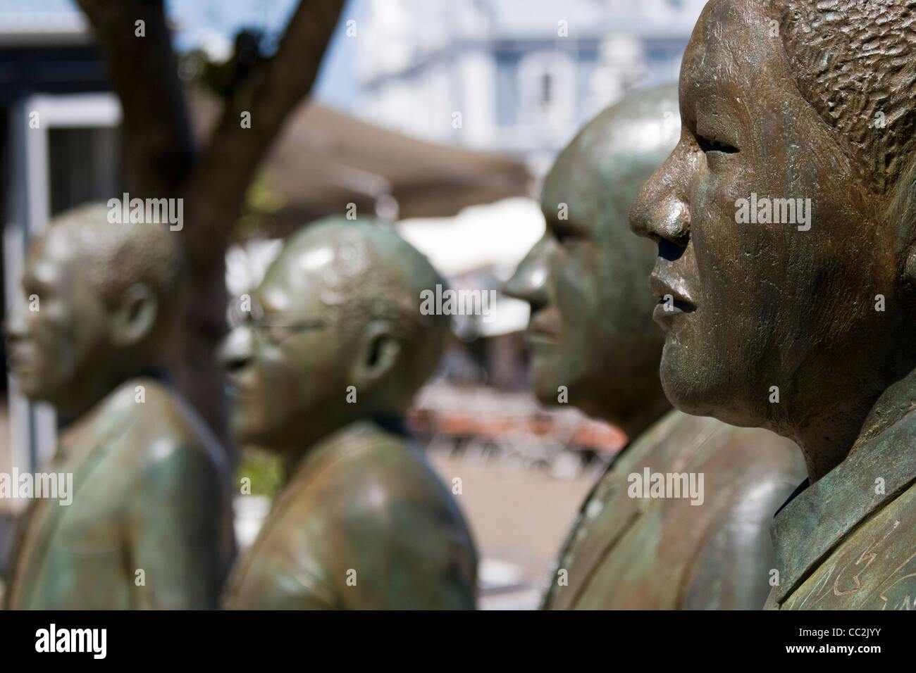 A statue in Cape Town of Nelson Mandela and other public figures - Stock Image