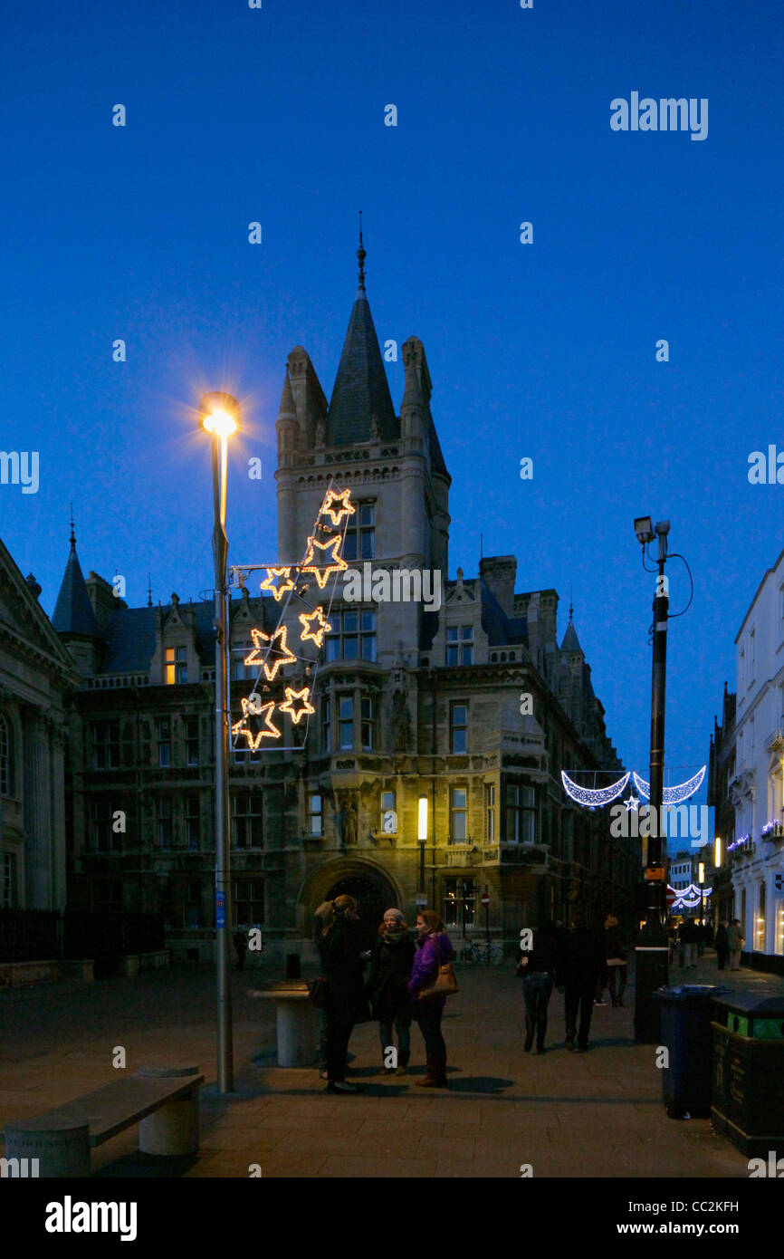 christmas lights and gonville caius college cambridge england