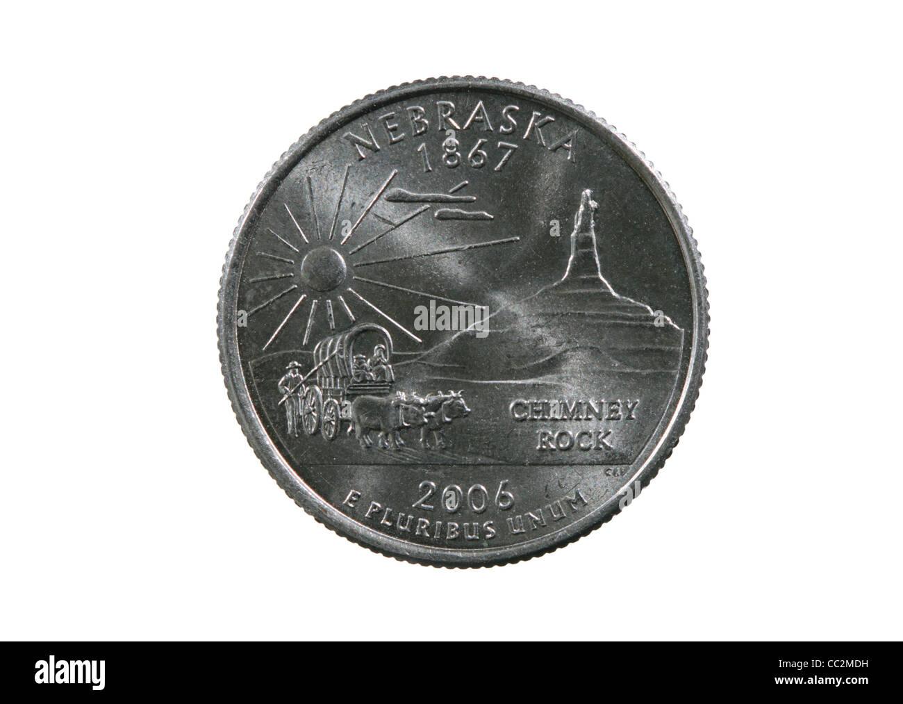 Nebraska state quarter coin isolated on white background - Stock Image