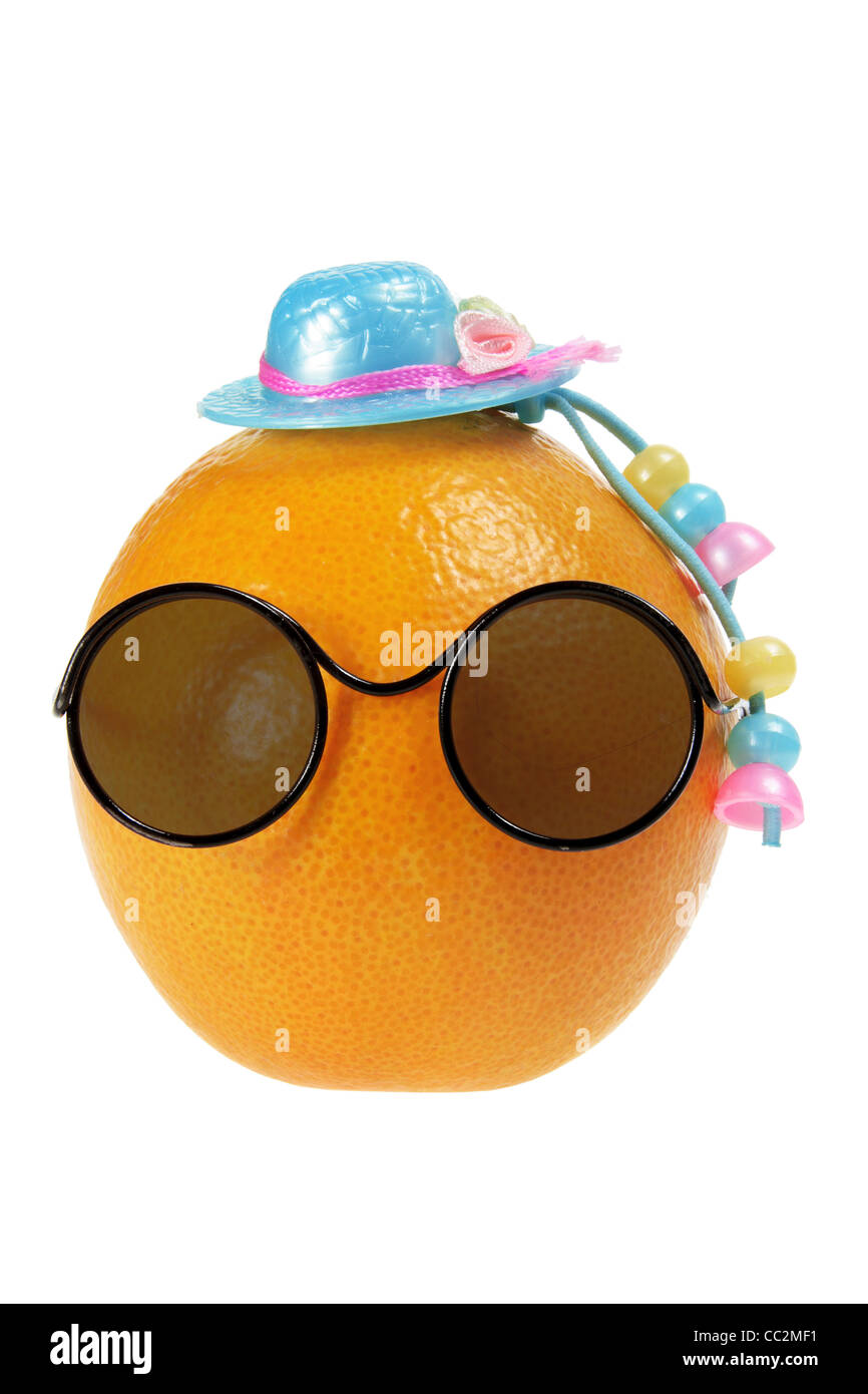 Orange Dressed up As Face - Stock Image