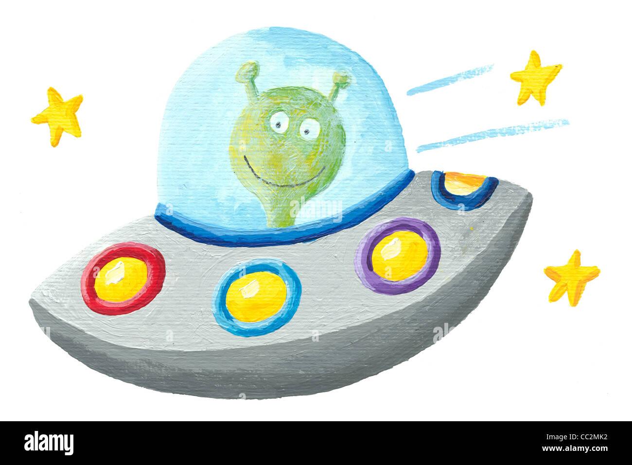 Acrylic illustration of UFO & cute Alien - Stock Image
