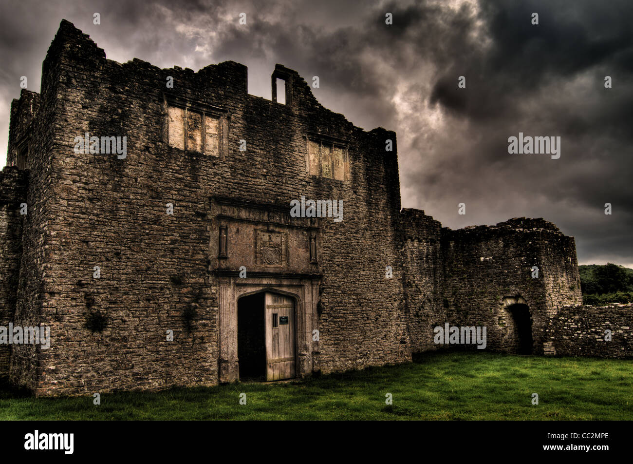 Beaupre Castle medieval ruins in Wales. - Stock Image