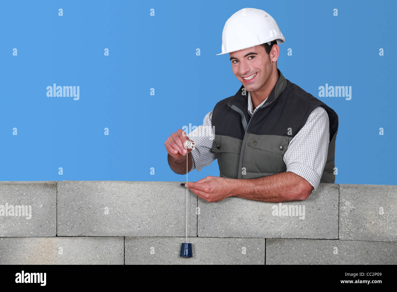 craftsman taking measurements - Stock Image